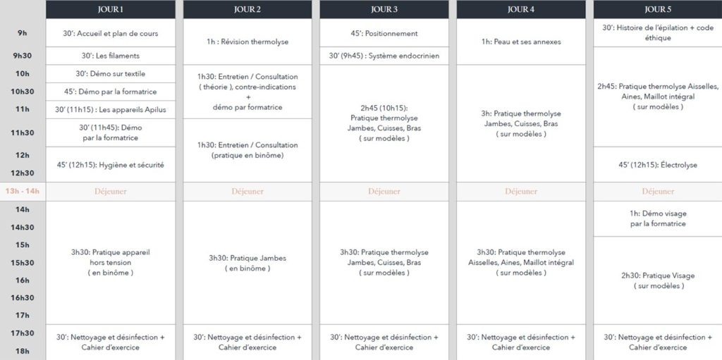 Planning Semaine 1 - Présentiel - Formation Electro-Epilation Expert - Pyrene Formation