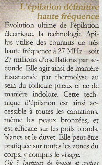 article VSD sur épilation définitive haute fréquence - Institut Pyrène