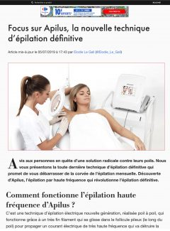 article Beauty Test - Epilation définitive - Apilus _ Institut Pyrène